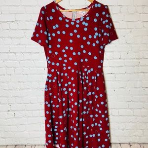 LuLaRoe Women's Amelia Flare Polka Dot Dress